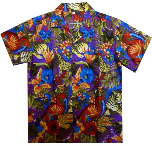 Funky Chemise Hawaienne, Jungle, pourpre, 3XL