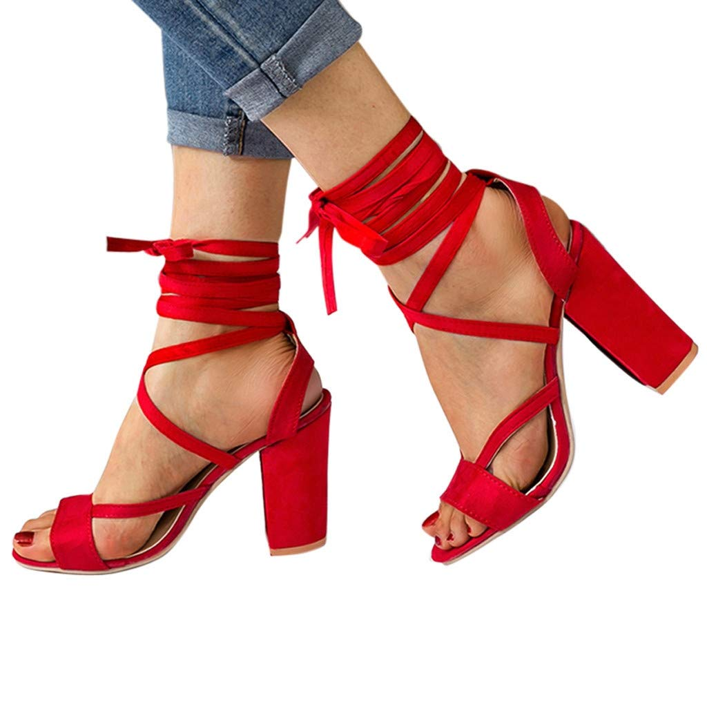 Sandals for Women Solid Cross Strap Kitten Heels Ankle Lace Up Square Sandals Roman Shoes(35, Red)