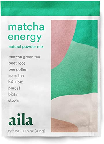 aila Matcha Energy Women s All-Natural Vegan Green Tea Pre-Workout Supplement Powder Mix Coffee Alternative, Made with Superfoods Vitamins Non-GMO, Gluten, Dairy Soy Free 4.5g per Packet