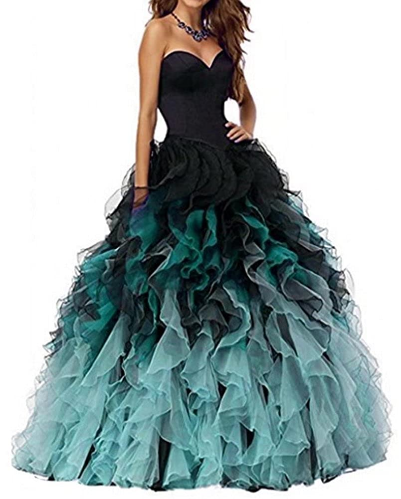 Black&teal Honeydress Women's Sweetheart Ombre Ruffles Long Quinceanera Dress Ball Gown