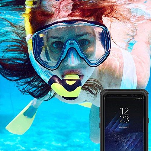 Hülle für Samsung Galaxy S8Plus, wasserdicht, AICase stoßfest, schneefest, staubdicht IP68-zertifiziert, vollständig versiegelt mit doppeltem Verwendungszweck, robuste wasserdichte Hülle für Samsung  schwarz
