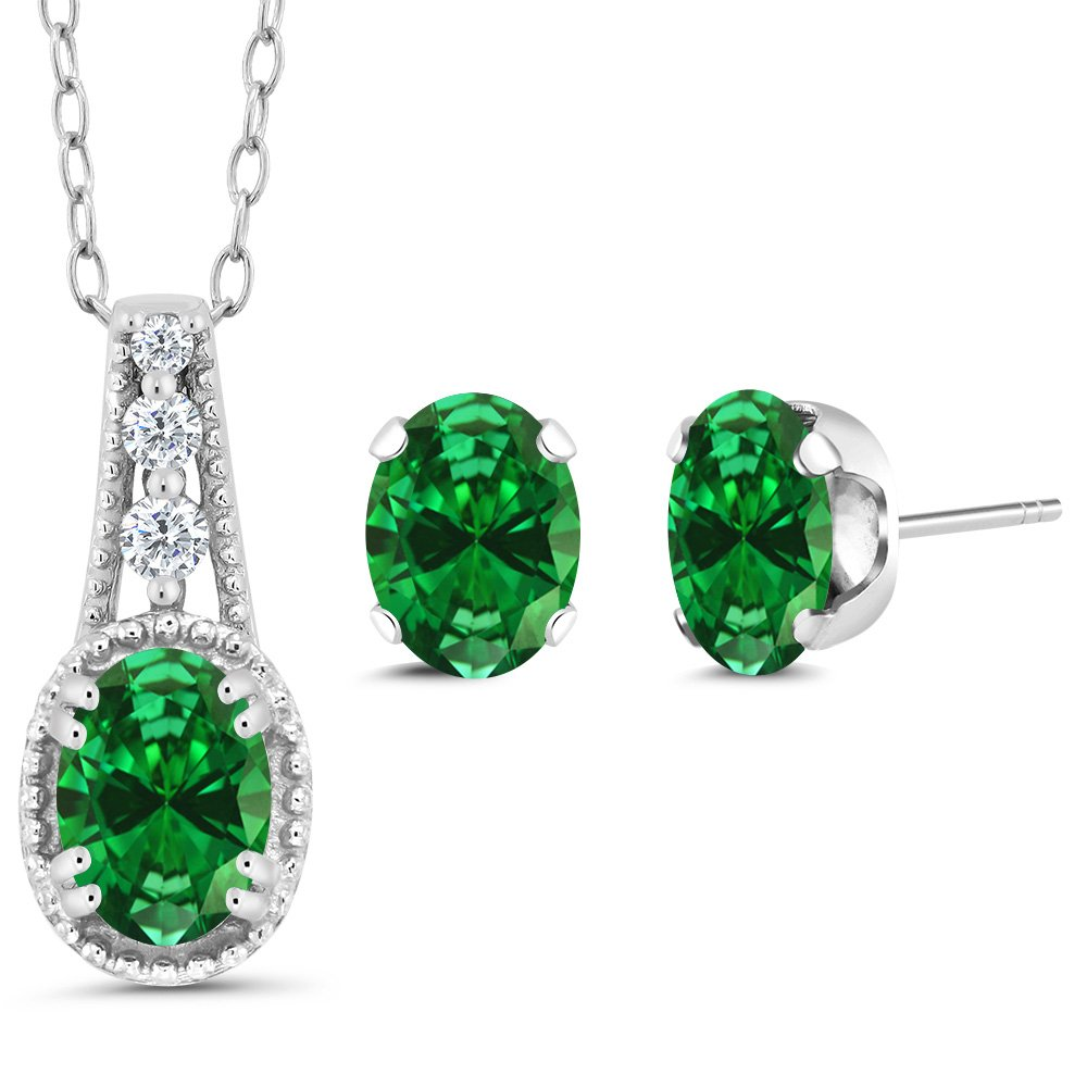 2.68 Ct Oval Green Simulated Emerald 14K White Gold Pendant Earrings Set