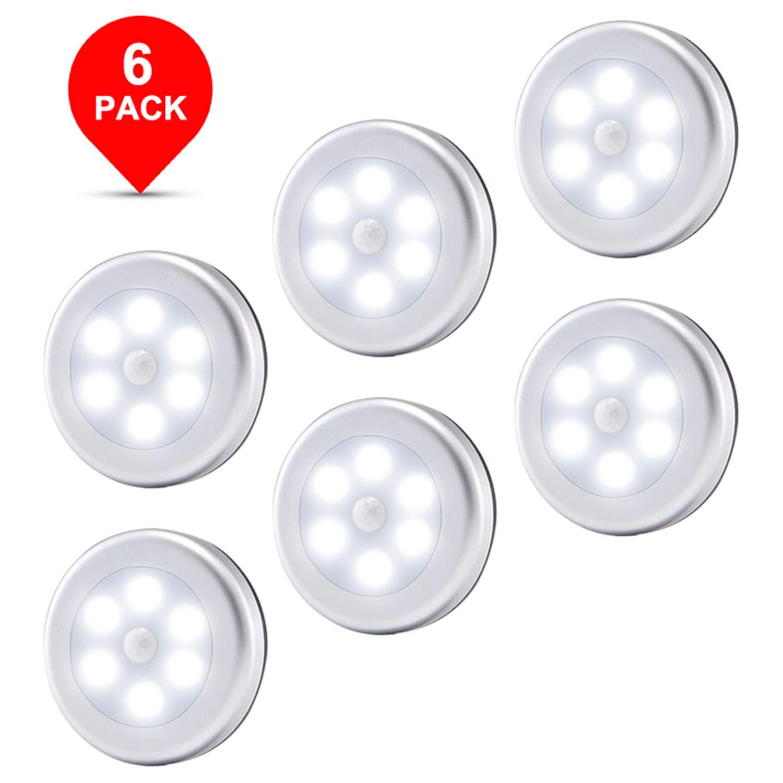 Motion Sensor Light, Wireless Battery Powered LED Night Lights Stick Anywhere Lamp for Home, Kitchen, Hallway, Cabinet, Closet, Stair, Bathroom (6-Pack White Light)