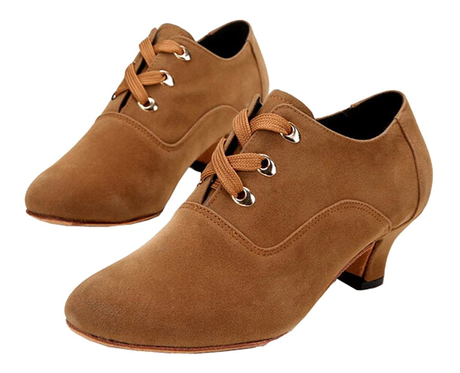 1940s Style Shoes, 40s Shoes Womens Modern Practice Social Dance Shoes Ankle Jazz Boots Lace-up $33.50 AT vintagedancer.com