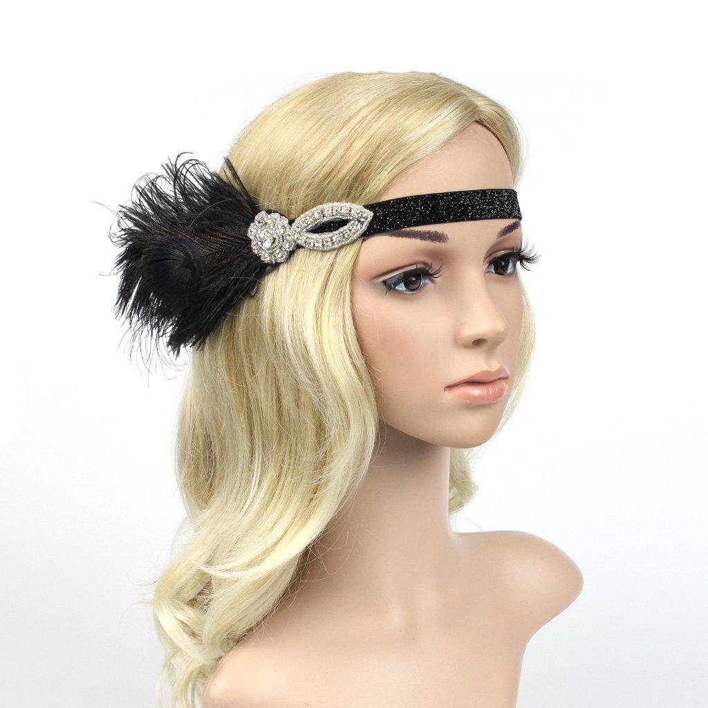 P Prettyia Vintage Stretch Feather Bandeau Strass Charleston Party Fancy Dress Nouveau