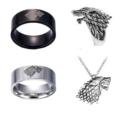 Amazon.com: Imcneal - Juego de 4 anillos de acero inoxidable ...