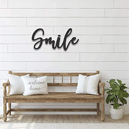 Amazon.com: Smile Wall Sign Handmade Metal Word Living Room ...