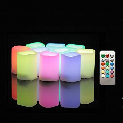"""LED Color Changing Flameless Votive Candles with Remote Timer Battery Operated Flickering Multi-Color Decorative Candle Lights for Christmas Xmas Wedding Party Décor 1.5""""x2"""" 10 psc Batteries Included: Home Improvement"""