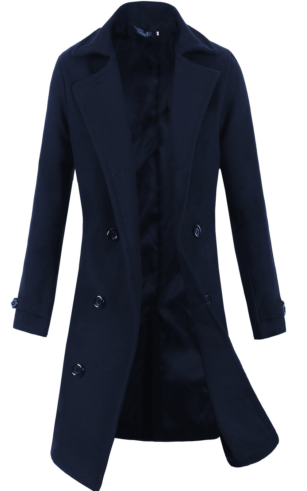 Lende Men's Trench Coat Winter Long Jacket Double Breasted Overcoat (S, Navy)
