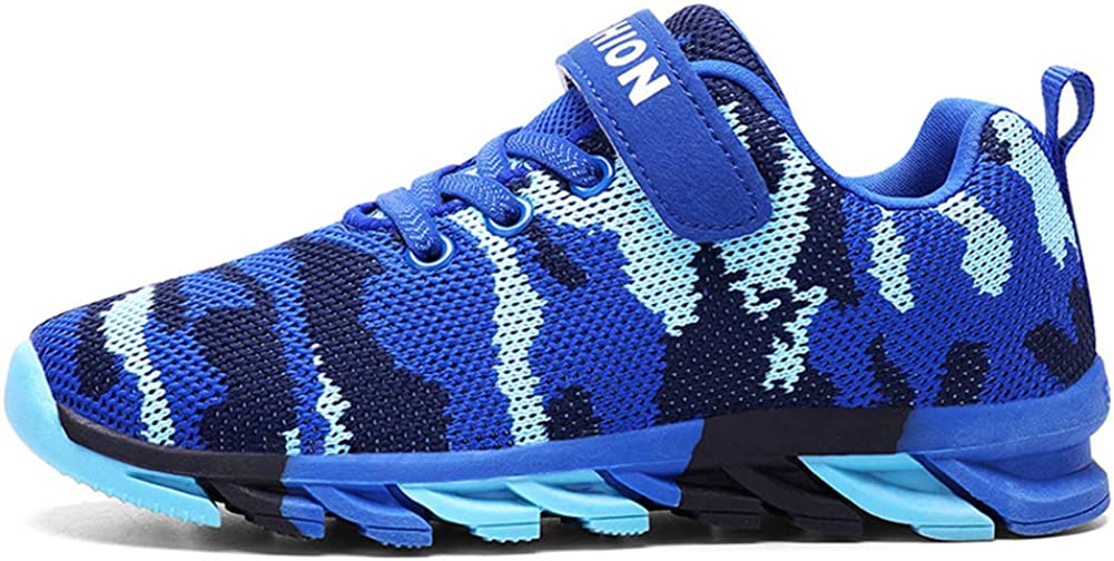 Exgingle Kids Boys Breathable Strap Athletic Running Tennis Shoes Non-Slip Mesh Sneakers Little//Big Kid