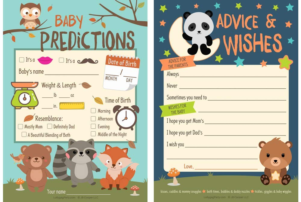 Woodland Animals Baby Shower Games, Prediction Game and Advice and Wishes for Baby (25 Cards) Gender Neutral for a Boy or Girl Baby