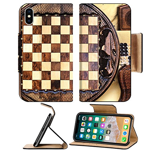 MSD Premium Apple iPhone X Flip Pu Leather Wallet Case IMAGE ID: 35308567 Checkerboard of the round shape made of wood and decorated with carvings Round Shape Checkerboard
