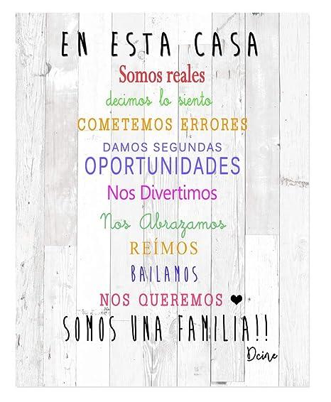 DCine Cuadro Decorativo/Frases positivas/sobre Madera/Regalo/Normas del hogar 19 cm x 25 cm x 4 mm/Madera (EN Esta CASA)