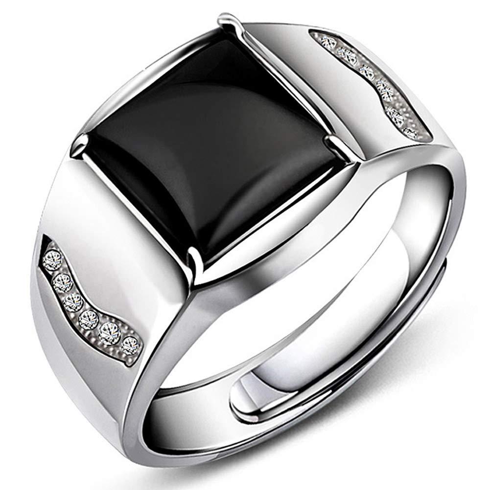 JiangXin Anillo de hombres Ónix negro Plata de ley 925 Tamaño ajustable EU-RYYG317-black