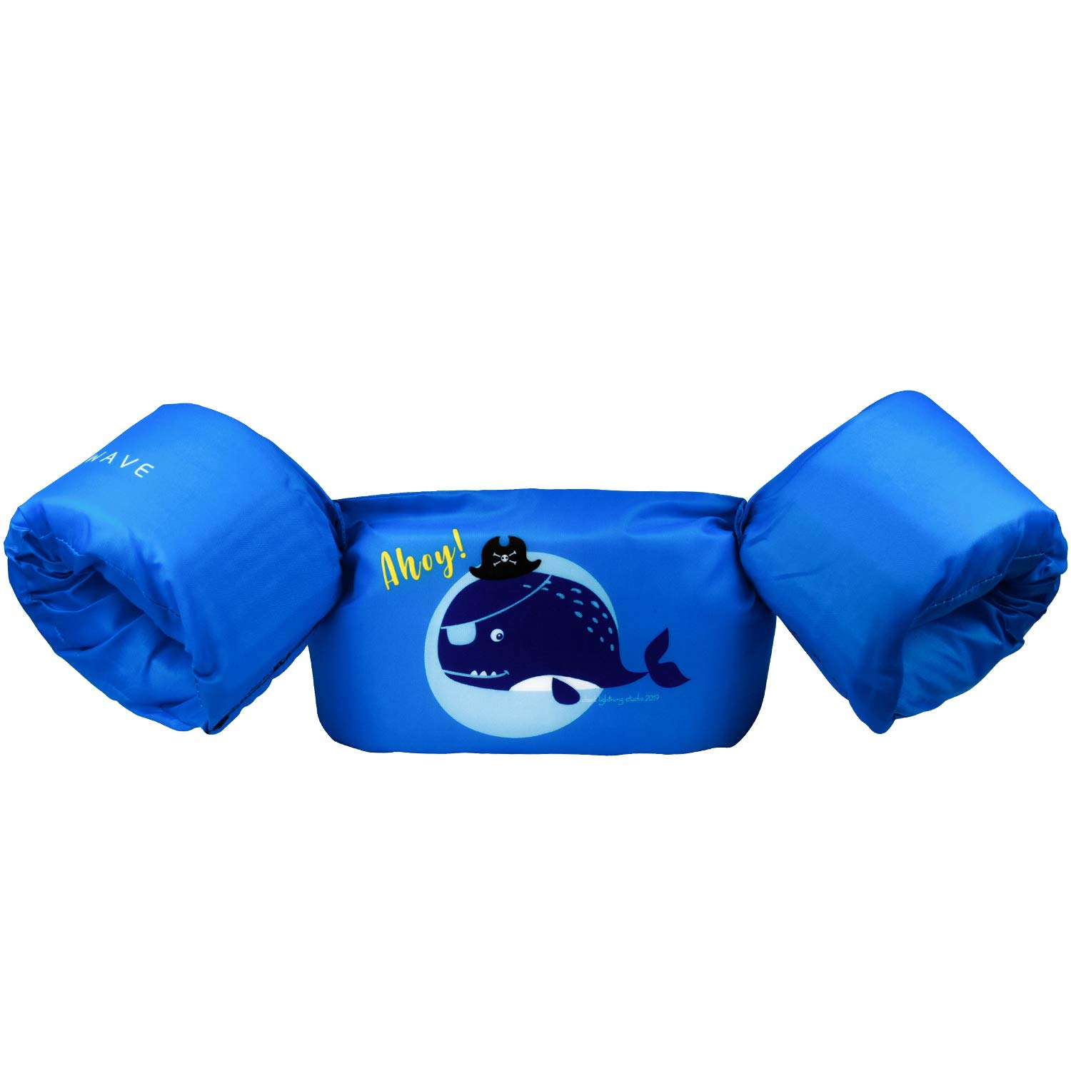 NEXWAVE Kids Life Jacket 20-30 Pounds for Boys Babies/Toddles, Floatie up to 50 lbs, for Pool/Puddle/Seabeach Playing and Jumpers (Blue - Pirate Whale)