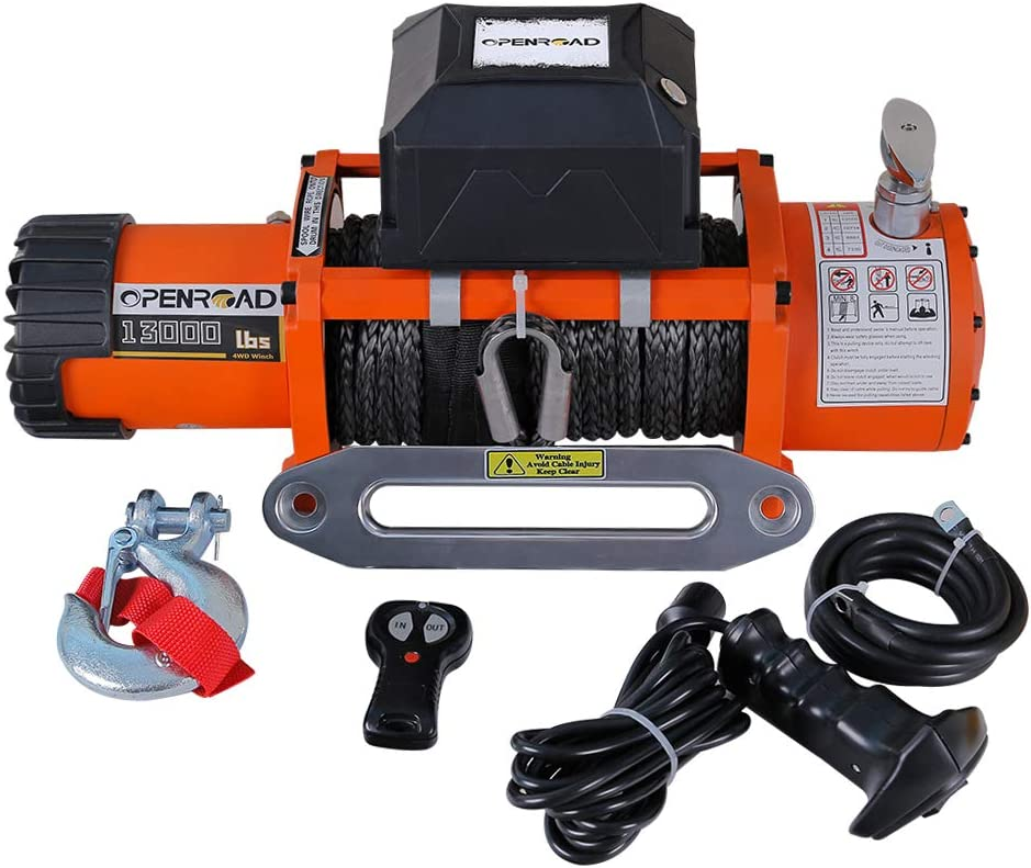 OPENROAD 13000lb//5896kg Electric winch with Synthetic Rope,12V Waterproof Truck Winch,Orange Winch Wireless Remote Control Recovery Car Winch Kit