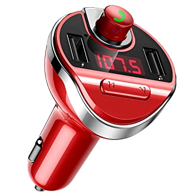 [Upgraded] KeeKit Bluetooth FM Transmitter for Car, Wireless FM Radio Adapter Car Kit, Universal Car Charger with USB Charging Ports, Hands-Free Calling, U Disk/ TF Card Support, MP3 Music Player –Red: Car Electronics