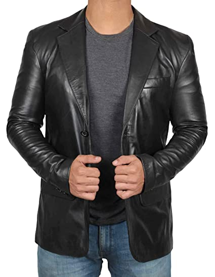 Sport Coats and Blazers for Men - Mens Black Leather Jacket | Blazer, XS
