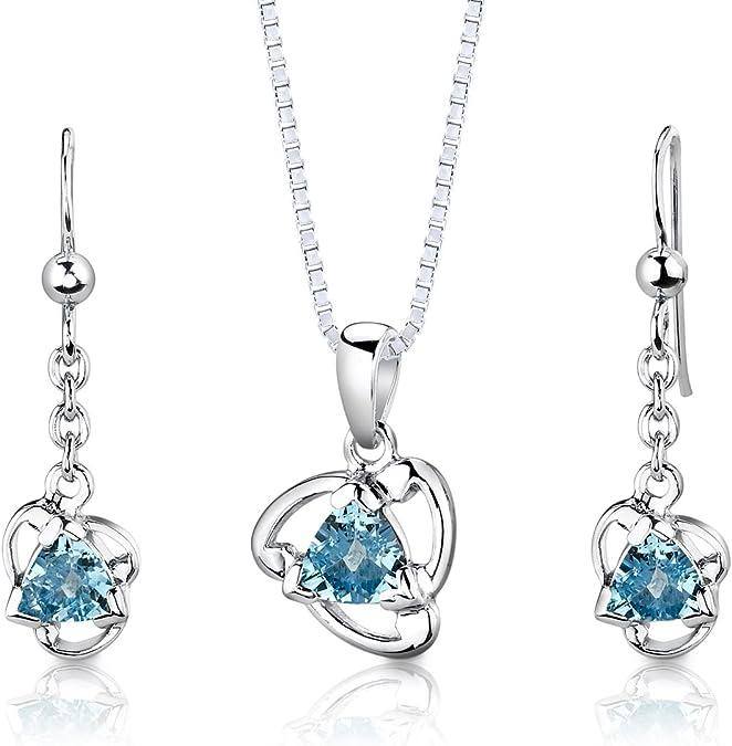 Blue Topaz Necklace Sterling Silver Harp Necklace Musical Instrument Genuine Swiss Blue Topaz Pendant