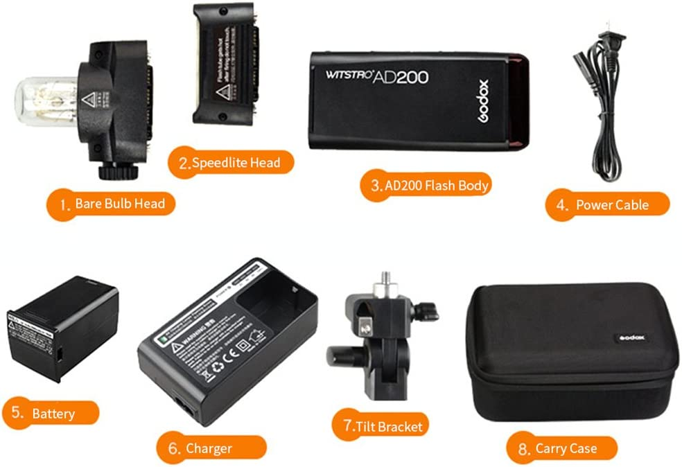Godox AD200 200Ws 2.4G TTL 1//8000 HSS Strobe Flash Strobe Speedlite Monolight with 2900mAh Lithium Battery to Cover 500 Full Power Shots and Recycle in 0.01-2.1 Sec