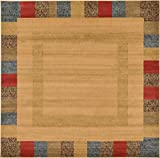 Land of Gabbeh Rugs Modern Contemporary Persian Design Beige 8′ x 8′ FT Square Area Rug – Perfect for any Home Décor – Living Room / Dinning Room / Play Room / Bedroom / Kids Room For Sale