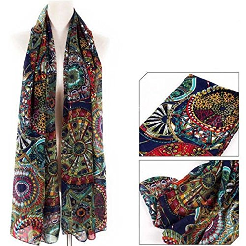 New Womens Chiffon Print Silk Long Neck Scarf Shawl Scarves Stole (Kong Crinkle Ring)