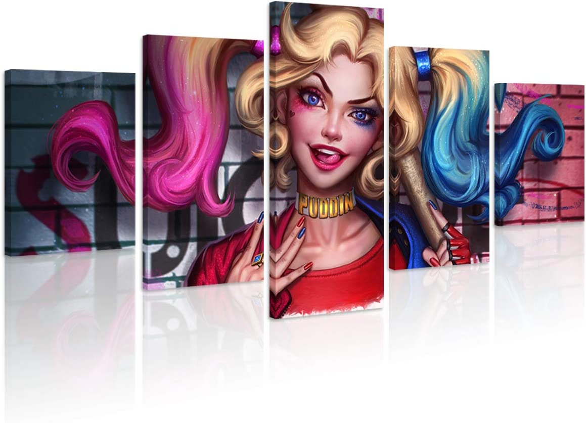 FUNHUA Harley Quinn Poster HD Printed Framed Ready to Hang 5 Piece DC Villain America Movie Canvas Art for Living Room Home Wall Decor