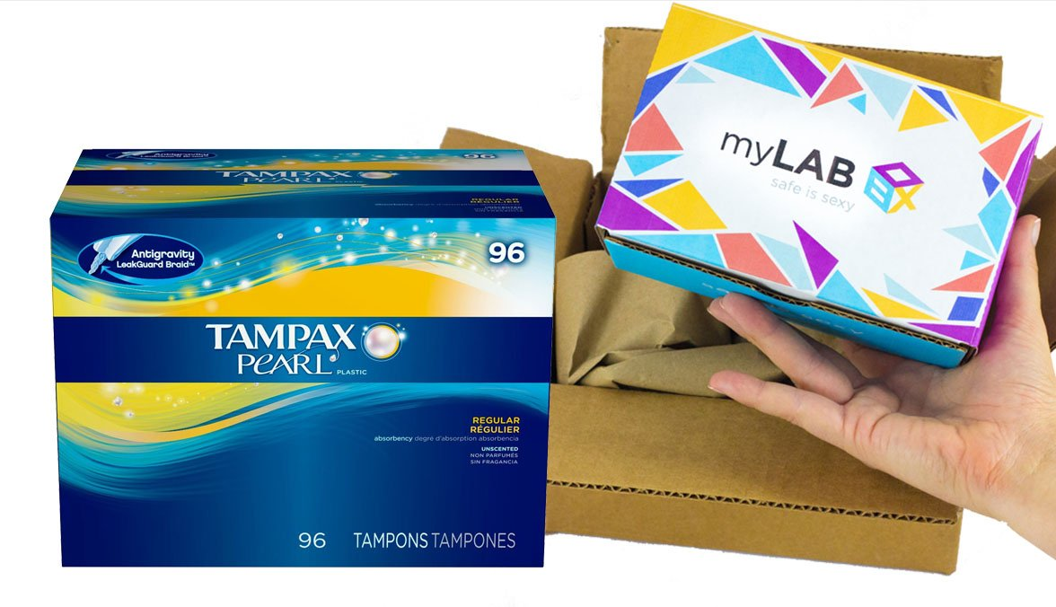 myLAB Box Home STD Test Bundle - Chlamydia/Gonorrhea/HIV/Trich Mail-In Test Kit (FEMALE) + Tampax Pearl Regular Absorbency Unscented Tampons (96 Count)