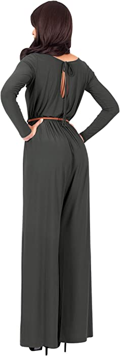 0c78f02e835f KOH KOH Womens Long Sleeve Sleeves Wide Leg with Belt Formal Elegant  Cocktail Party Fall Pant. Back. Double-tap to zoom