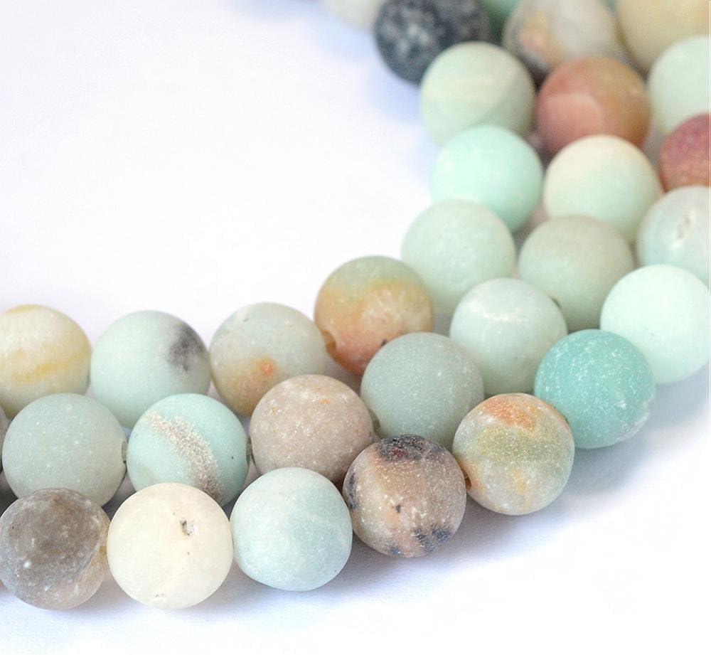 Perlin - 50 cuentas de amazonita de 4 mm, color mate escarchado, grado A, piedras y gemas naturales
