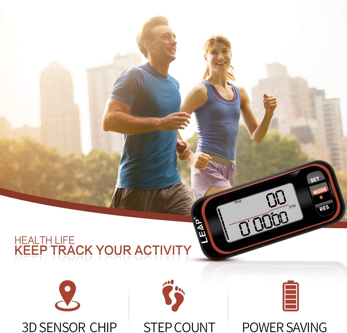 Accurate Step Counter for Walking and Miles Walking Distance LEAP 3D Walking Pedometer Clip on with Strap Weak 7 Days Memory