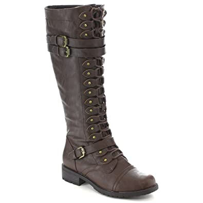 d6a8a4610ed Wild Diva Women s Fashion Timberly-65 Military Knee High Combat Boots Shoes  Brown sz 5.5