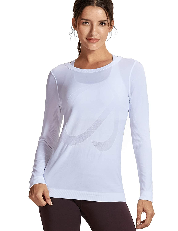 TALLA XL(46). CRZ YOGA Mujer Ropa Deportiva Sports Casuales Camiseta Malla sin Costura Manga Larga