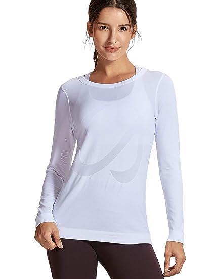 CRZ YOGA Mujer Ropa Deportiva Sports Casuales Camiseta sin Costura Manga Larga: Amazon.es: Ropa y accesorios