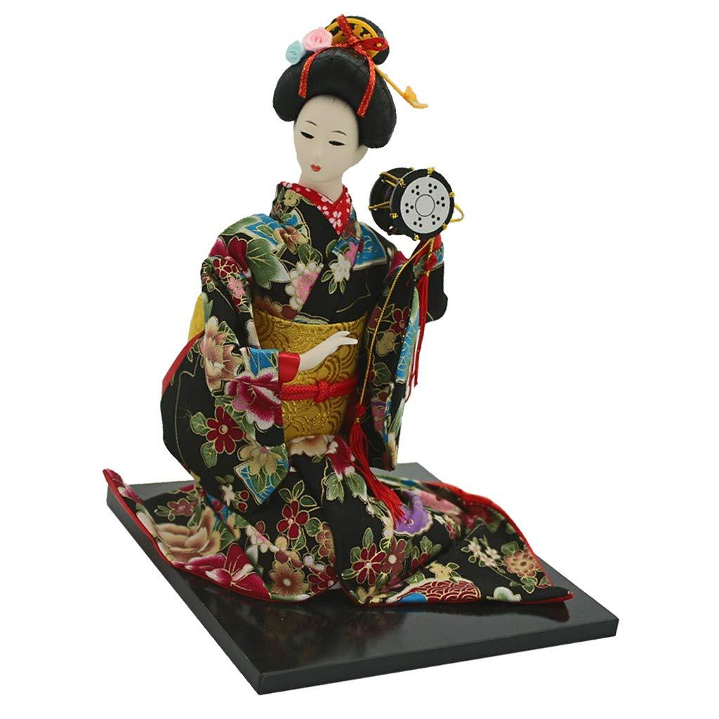 Fityle 16 Retro Japanese Samurai Kimono Doll Geisha Kabuki Oriental Doll Model Kids Gift Adults Collection w. Drum