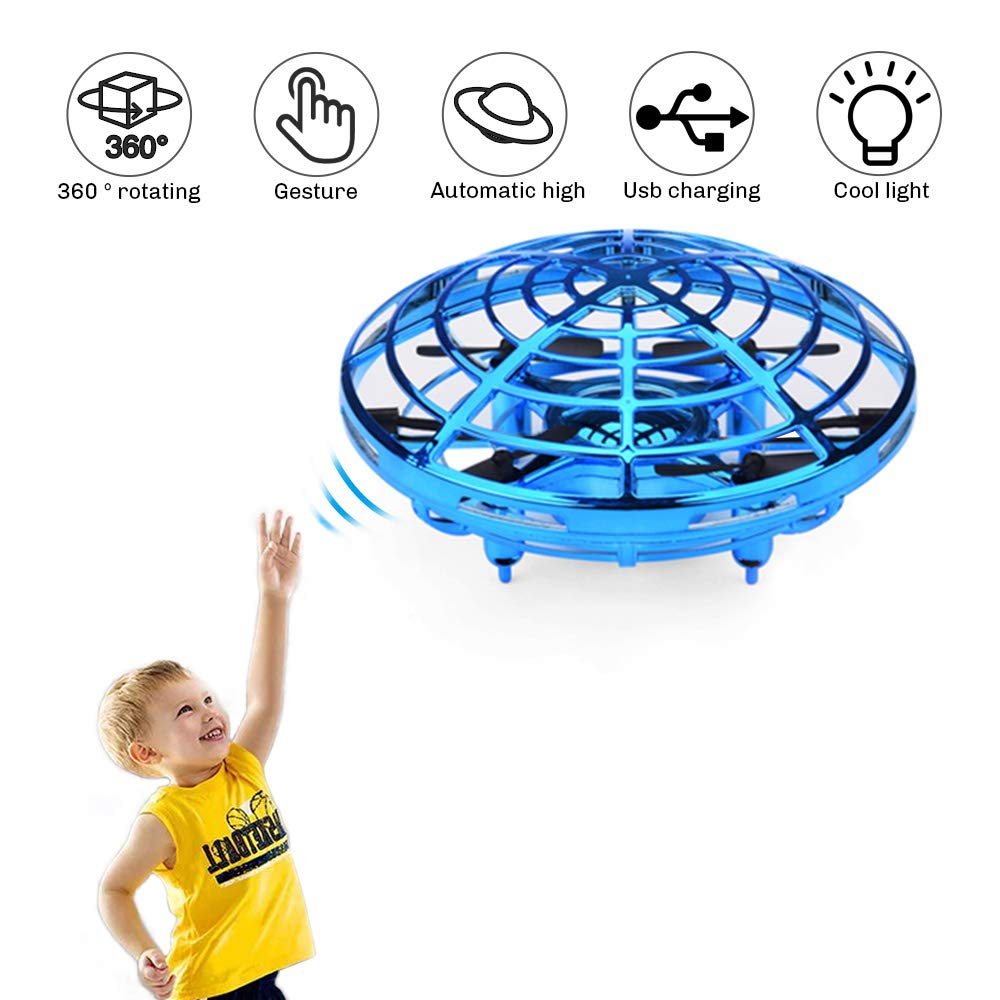 UFO Flying Ball Toys, Gravity Defying Hand-Controlled Suspension Helicopter Toy, Infrared Induction Interactive Drone Indoor Flyer Toys with 360° Rotating and LED Lights for Kids, Teenagers Boys Girls