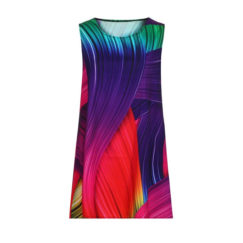 Women Tank Mini Dress Short Sundress Boho 3D Floral Print A-Line Vintage Loose Party Prom Beach Dresses (Purple, L2)
