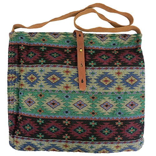 Lovestitch Tribal Print Crossbody Tote Handbag Green, (Slouch Bag Pattern)