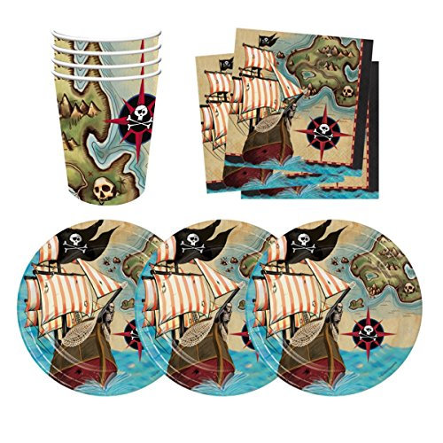 Pirate ...  sc 1 st  The Un-Coordinated Mommy & Pirate Ship Treasure Map Birthday Party Supplies Set Plates Cups ...