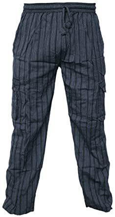 0b0e70b2fe8aab Leichte Baumwollhose, elastische Taille, Sommerhose mit Tasche Gr.  XXX-Large, Striped