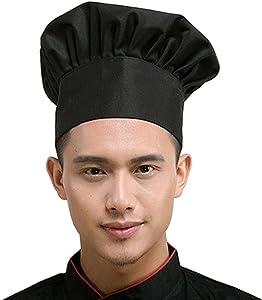 Chef Hat Adult Adjustable Elastic Baker Kitchen Cooking Chef Cap, Black