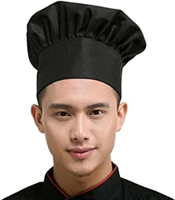 Hyzrz Chef Hat Adult Adjustable Elastic Baker Kitchen Cooking Chef Cap, Black
