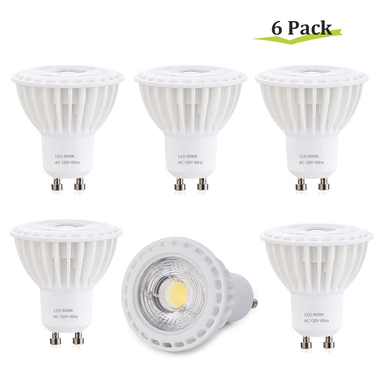 6 Pack 120V Spot Lights Indoor Recessed Track Lighting ,5000K Daylight White,500LM,38/° Narrow Beam Angle GU10 LED Bulbs Non-Dimmable,GU10 Base Spotlight Lamp 5W 50W Halogen Bulb Replacement