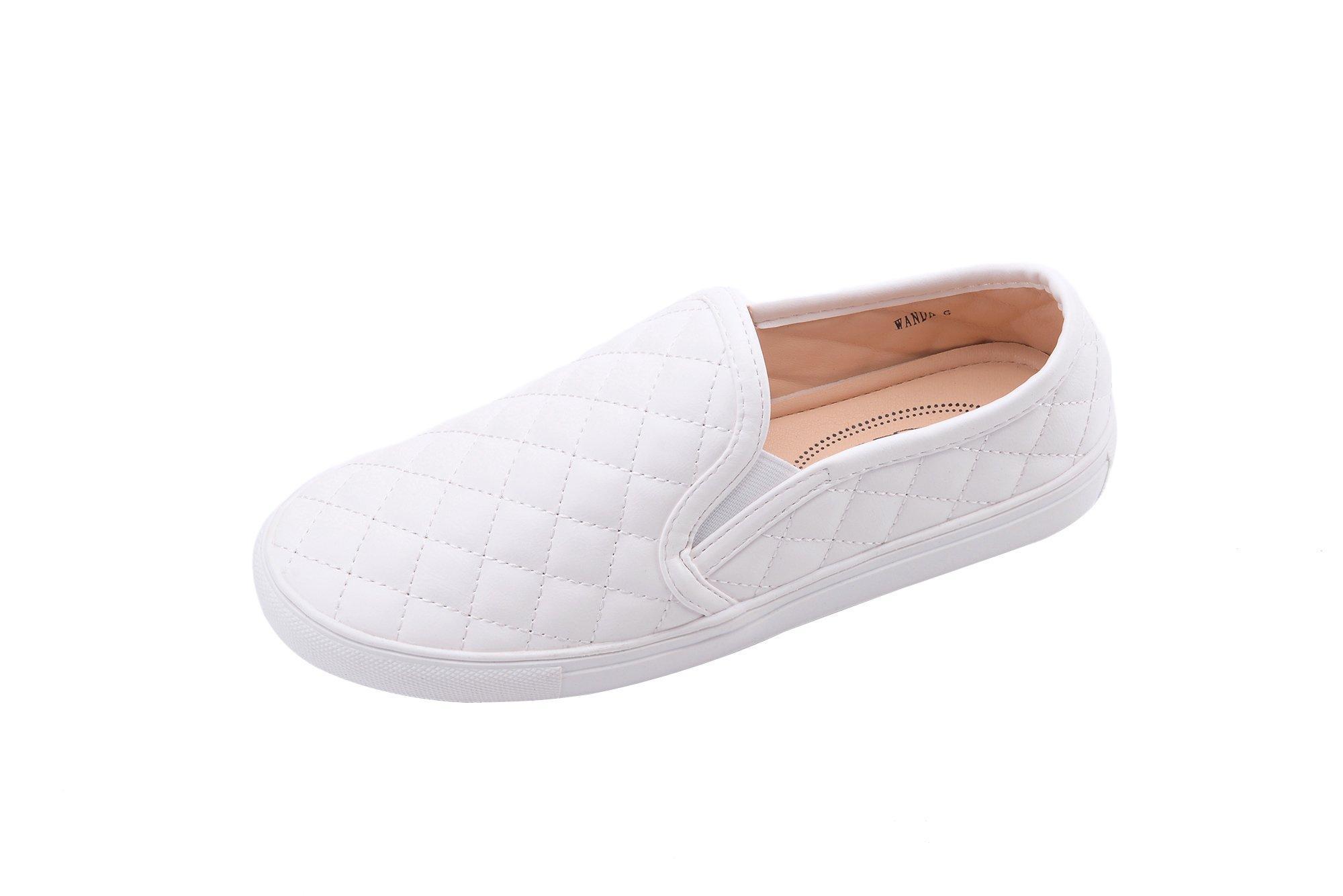 GREENS Wanta Women Canvas Fierce Quilt Pattern Slip On Fashion Sneakers, White 10