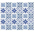 Wallies Wall Decals, Blue Tiles Wall Stickers, Set of 30