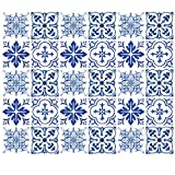 Wallies Peel & Stick Vinyl Wall Decals, Blue Tiles Wall Stickers, Includes 30 Stickers in Four Tile Designs