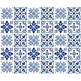 "Wallies Wall Decals,3"" x 3"" Blue Tiles Wall Stickers, Set of 30"