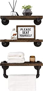 Mkono Floating Shelves with Industrial Pipe Brackets and Towel Bar Rustic Wall Mounted Wood Shelving Storage Farmhouse Home Decor for Bathroom Bedroom Kitchen Living Room Office, Set of 3