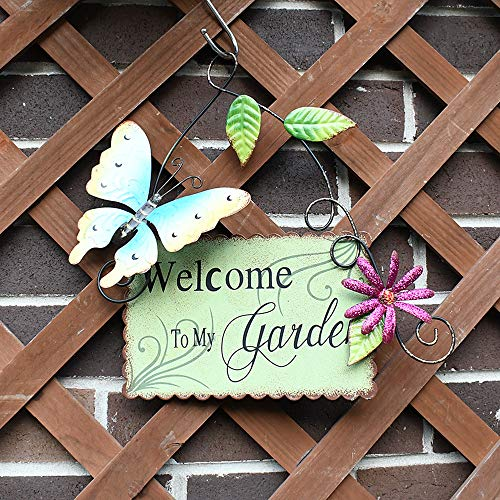Garden Welcome Signs Metal Hanging Yard Art Decorative Outdoor Garden Signs with Butterfly Flower Decor (Garden Welcome Yard Sign)