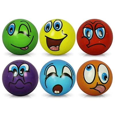 12 x Stress Stress ball Balles anti-stress Antistress drôles de visages Soft Ball assortis 6 cm